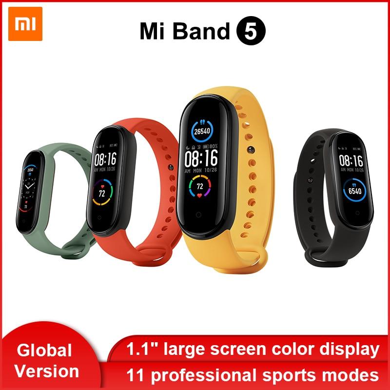 Version mondiale Xiaomi Mi bande 5 Bracelet intelligent AMOLED affichage couleur dynamique Bluetooth Sport Fitness Tracker Fitness Smartband