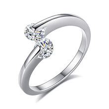 Delicate Simple Twin Zircon Promise Anniversary Engagement Rings For Fashion Women Gift 925 Jewelry S-R41(China)