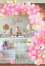 METABLE 115-Piece White Pink and Gold Balloons for Pink Birthday Decorations Pastel Pink Baby Girl Balloon Arch for Princess printio white and pink