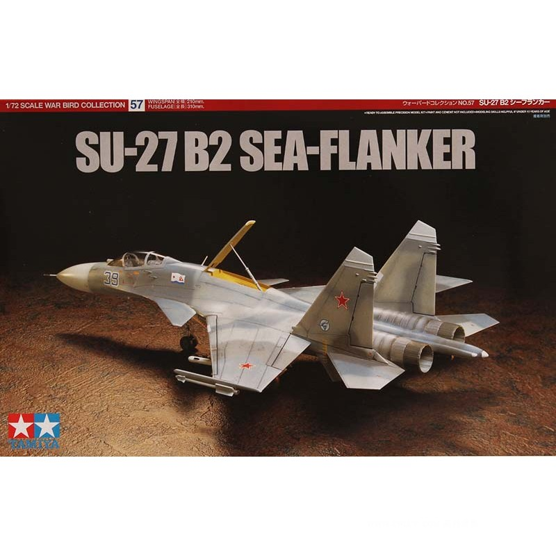 Tamiya 60757 1/72 Scale SU-27 B2 SEA-FLANKER Fighter Plane Aircraft Display Collectible Toy Plastic Assembly Building Model Kit