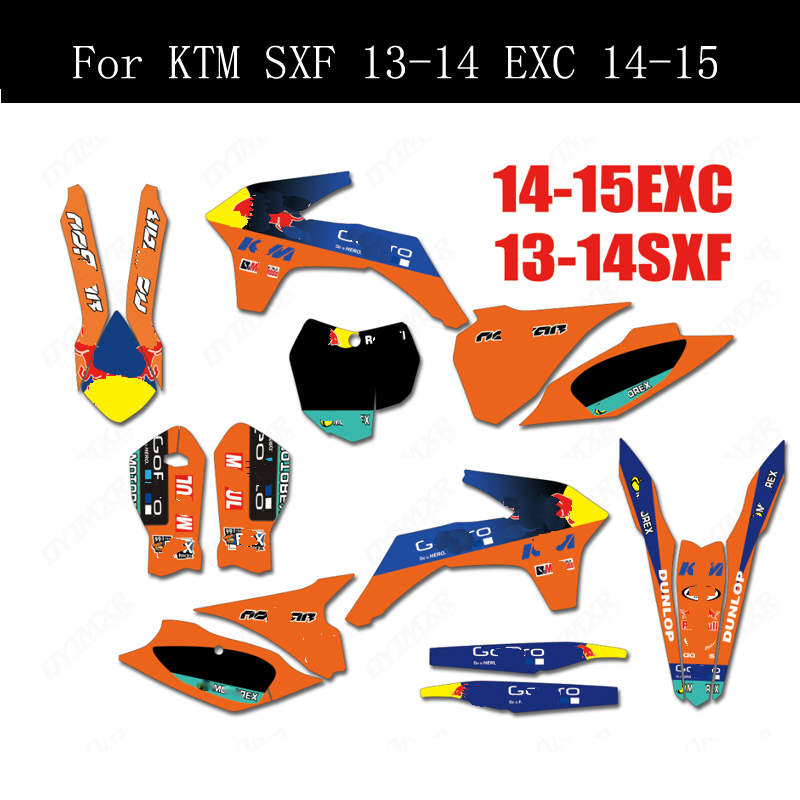 Free Customized Graphics Stickers Kits Background Decals For <font><b>KTM</b></font> 125 250 300 350 450 500 <font><b>SXF</b></font> SX 2013-2014 EXC EXCF 2014 <font><b>2015</b></font> image