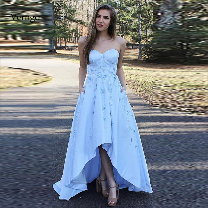 Verngo Appliques Evening Dress Blue Satin Formal Party Dress High-Low Prom Gown Evening Dresses Long Robe De Soiree