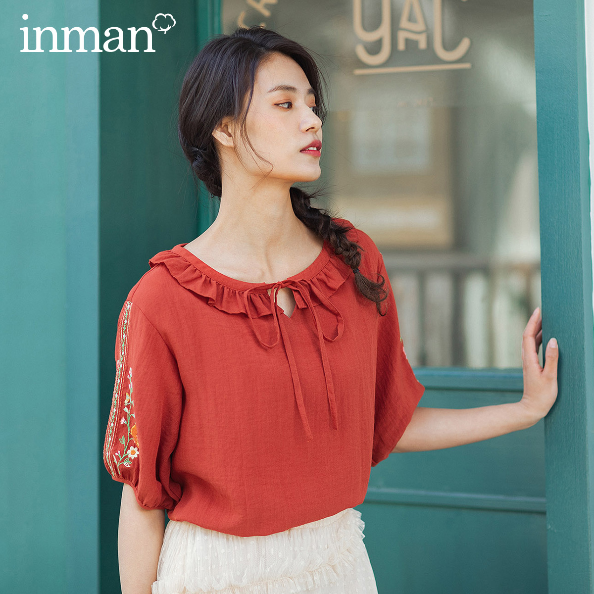 INMAN 2020 Summer New Arrival Sweet Lotus Leaf Collar Bowknot Lace-up Literary Embroidered Blouse