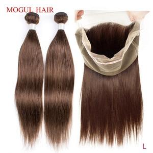 Mogul cor do cabelo 4 marrom brasileiro cabelo reto 360 pré-arrancado laço frontal com pacotes não remy extensão do cabelo humano