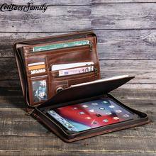 Padfolio dla iPad Air 4 Case 2020 iPad 10 2 Case 7 8 generacji Case Pro 11 2020 10 5 Air 3 10 5 iPad Pro 11 2021 Case tanie tanio PRAWDZIWA SKÓRA Skóra bydlęca CN (pochodzenie) Brak Biznes Chowany 29 2cm Teczki 22cm Unisex zipper Boczna kieszeń 1 1kg