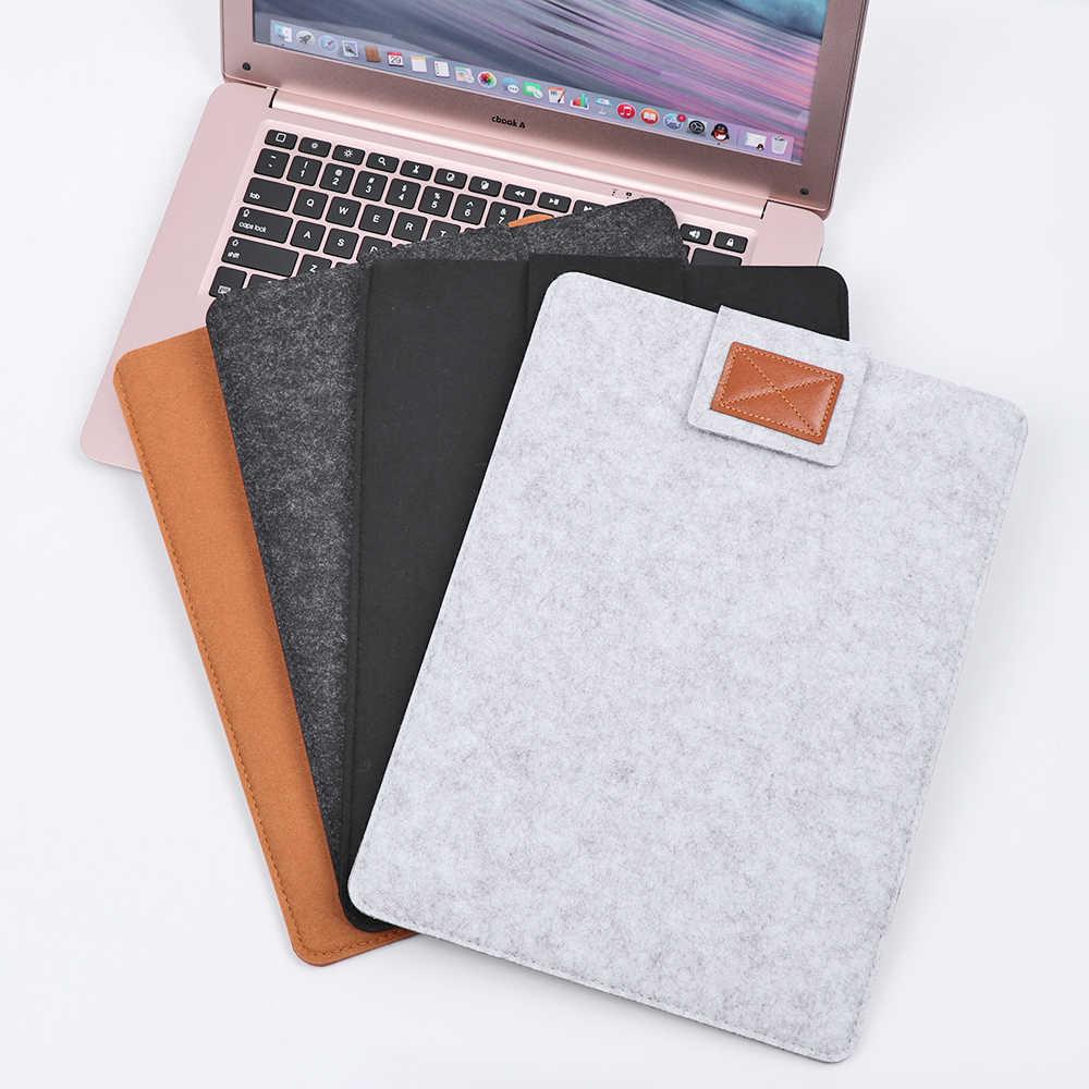 Capa de laptop portátil ultra fina, para macbook air pro retina 11/13/15 polegadas lã em feltro e macia para mac book 13.3 polegadas