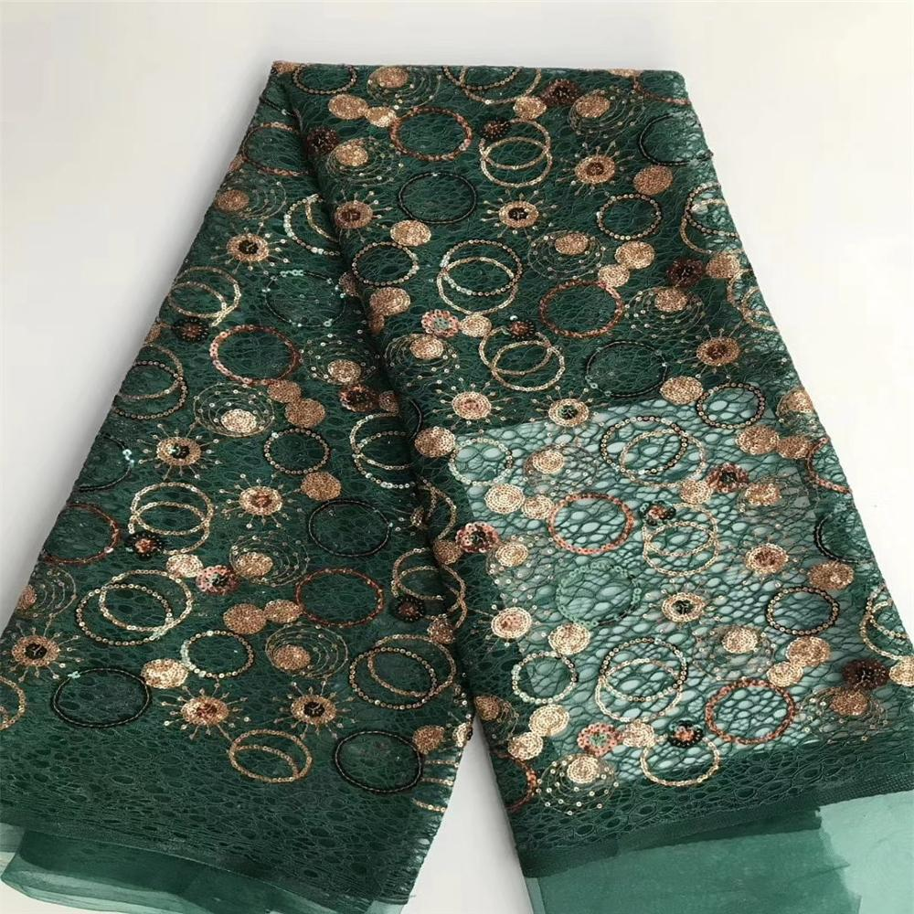 Green Color African Lace Fabric 2020 High quality Sequins with Embroidery Nigerian Lace Fabric For Women French Mesh Lace Fabric