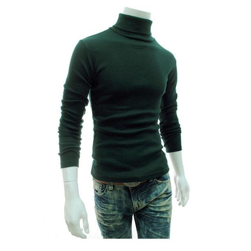 2020 New Autumn And Winter Men's Sweaters Men's Turtleneck Solid Sweater Casual Slim Men's Pullovers