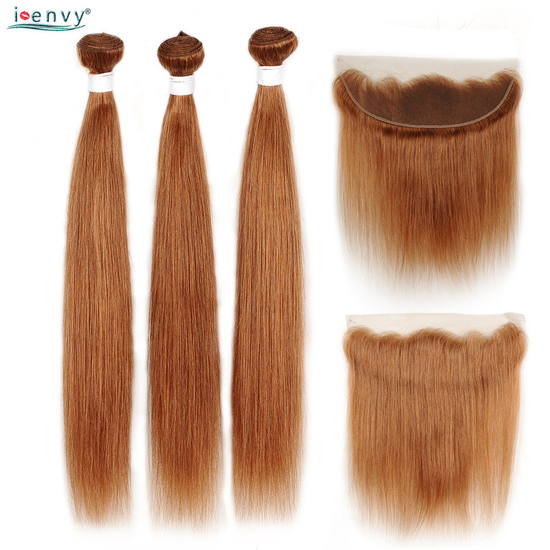 Ginger Blonde Bundles With Lace Frontal Closure #30 Brazilian Straight Human Hair Bundles With 13*4 Closure Colored Hair Nonremy