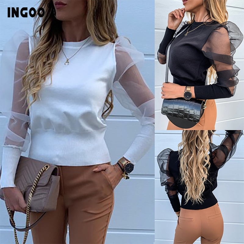 INGOO <font><b>Sexy</b></font> <font><b>Mesh</b></font> Women Shirts Elegant <font><b>Spliced</b></font> Solid Color Shirt <font><b>2019</b></font> Contracted Long Puff Sleeve Slim Female <font><b>Blouses</b></font> Office Lady image