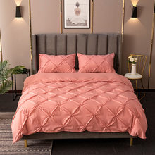 Luxury 3D Bedding set Duvet Cover Set Queen King Size Pinch Pleat Brief Sets Comforter Cover Pillowcases Solid color simplicity(China)