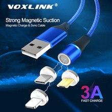 VOXLINK-Cable USB magnético de 1M, Cable Micro USB trenzado de nailon para iPhone Xs 6 7, Samsung, Xiaomi, Huawei y LG