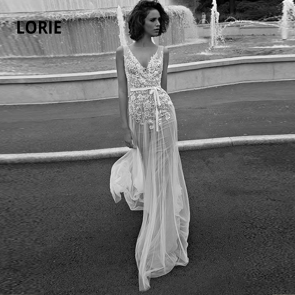 LORIE Vintage Lace Appliqued Bridal Gown 2020 Sexy V-neck Open Back Simple Soft Tulle Beach Bohemia Wedding Dresses