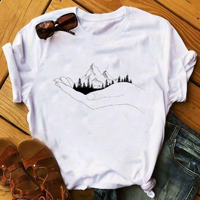 Women 2020 Spring Summer Mountain Travel Fox Clothing Print Lady Womens Top Ladies Graphic Female  T Shirt T-shirts Tee T-Shirt