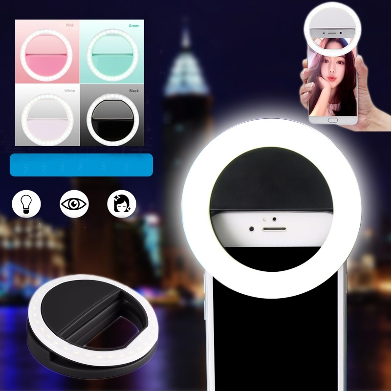 LED Ringlight Selfie Ring Light For iPhone Samsung Huawei Xiaomi Portable Photography Video Lights Clip Photographic Lighting