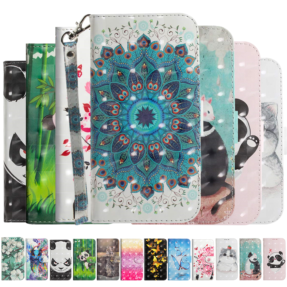 3D Wallet Flip Case For Motorola MOTO G7 G6 G5s E5 Plus Play Power Cover Cartoon PU Leather Case For MOTO One P30 Play