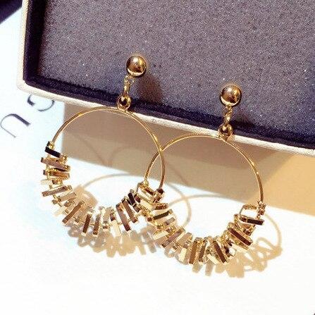 big New  geometric earrings indian jewelry korean pearl chandelier trendy fashion