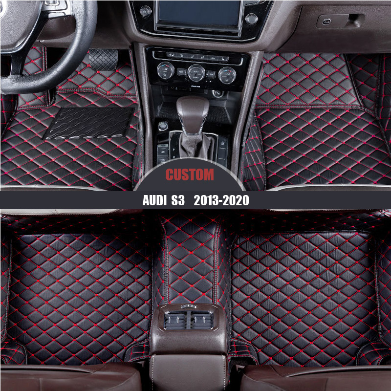Custom Car Floor Mats for Audi S3 2015-2019 Sedan Full Surrounded Waterproof Anti-Slip All Weather Protection Leather Material Car mat Carpet Liners Accessories Black and Red