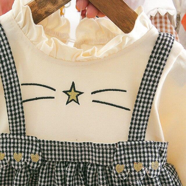 Niemowlę maluch dziecko ładna dziewczyna sukienka na ramiączkach dzieci sukienka w kratę gwiazda kreskówki wzór biała koszula z falbankami na dziewczynę Tutu sukienka