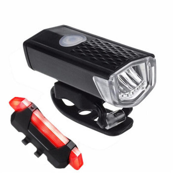 Hot 2Pcs Bike Light Set USB Rechargeable Bicycle Lights Front Headlight + Rear Taillight Cycling Light Bike Accessories image