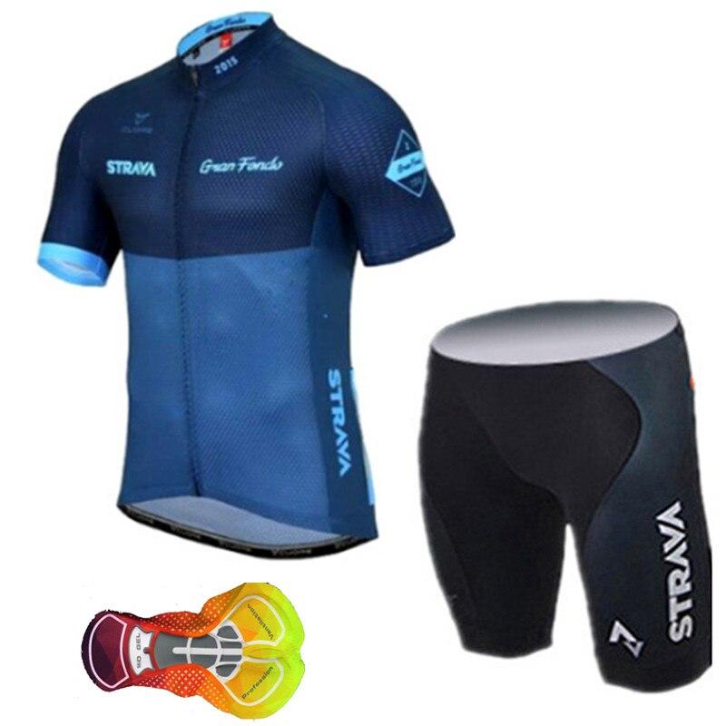 2019 Strava cyclisme maillot hommes kit vélo vêtements séchage rapide vêtements de vélo/manches courtes cycle vêtements ensembles Ropa Ciclismo Uniformes