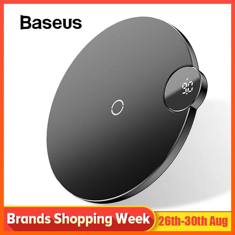 Baseus Display LCD Carregador Sem Fio Para o iphone X Xs Max Rápido Carregador de Telefone Sem Fio Para Samsung S10 S9 S8 Xiaomi MI9