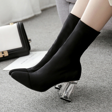 Elastic mid-waist calfskin lady pointed socks square high-heeled shoes crystal size 35-42