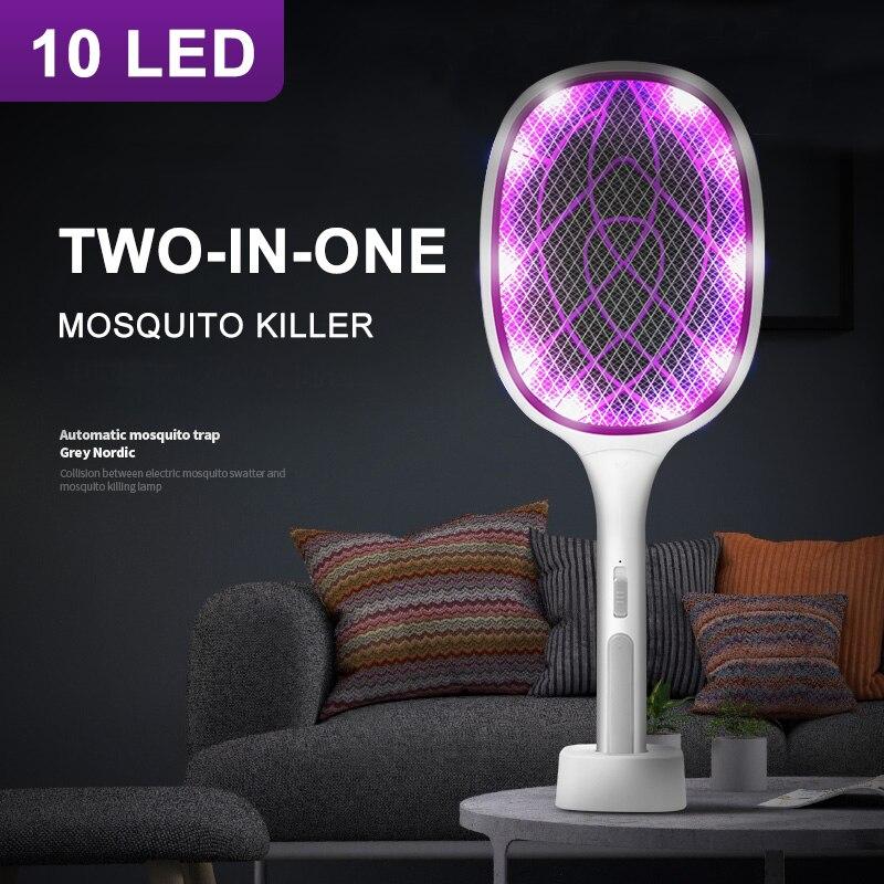 «Два в одном», 10 светодиодный солнечный ловушка для комаров убийца лампа 3000V Электрическая мухобойка USB Перезаряжаемые летние мухобойка лов...