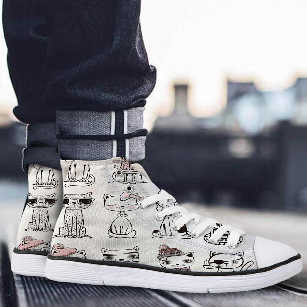 WHEREISART ผู้หญิงผ้าใบรองเท้าการ์ตูนแมว Kitty High Top รองเท้า Unisex Vulcanized รองเท้าสบายๆหญิงรองเท้ารองเท้าผ้าใบ