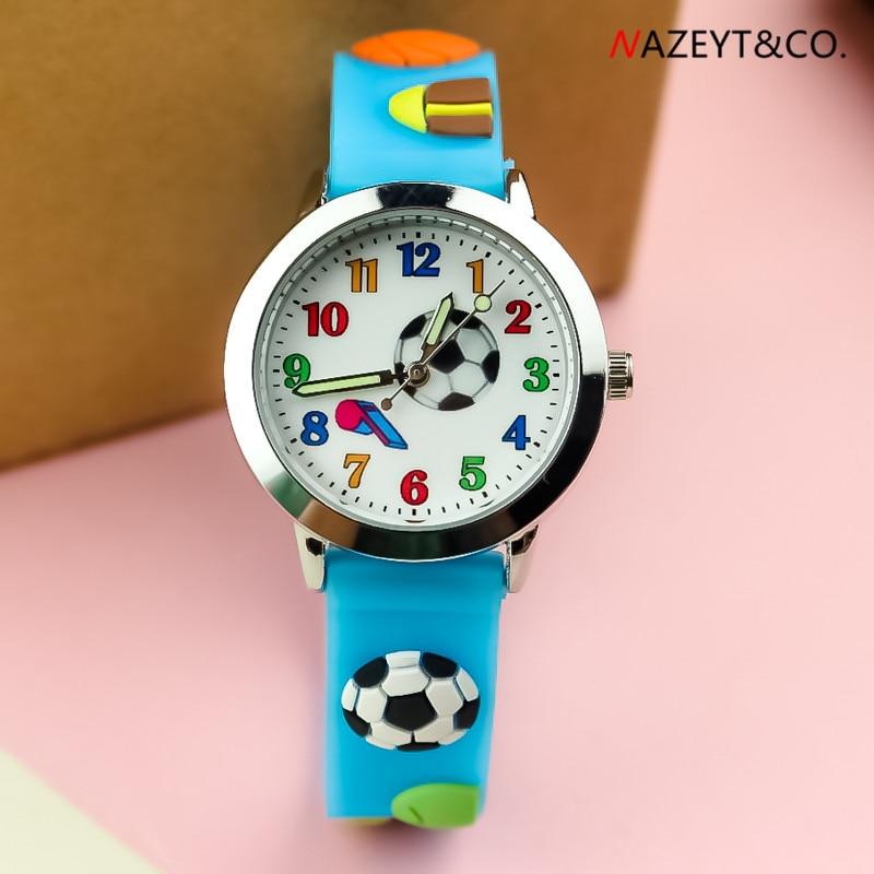 New 3D Cartoon Fashion Boys Girls Football Whistle Dial Silicone Kids Luminous Hands Quartz Watch Student Gift Wristwatch
