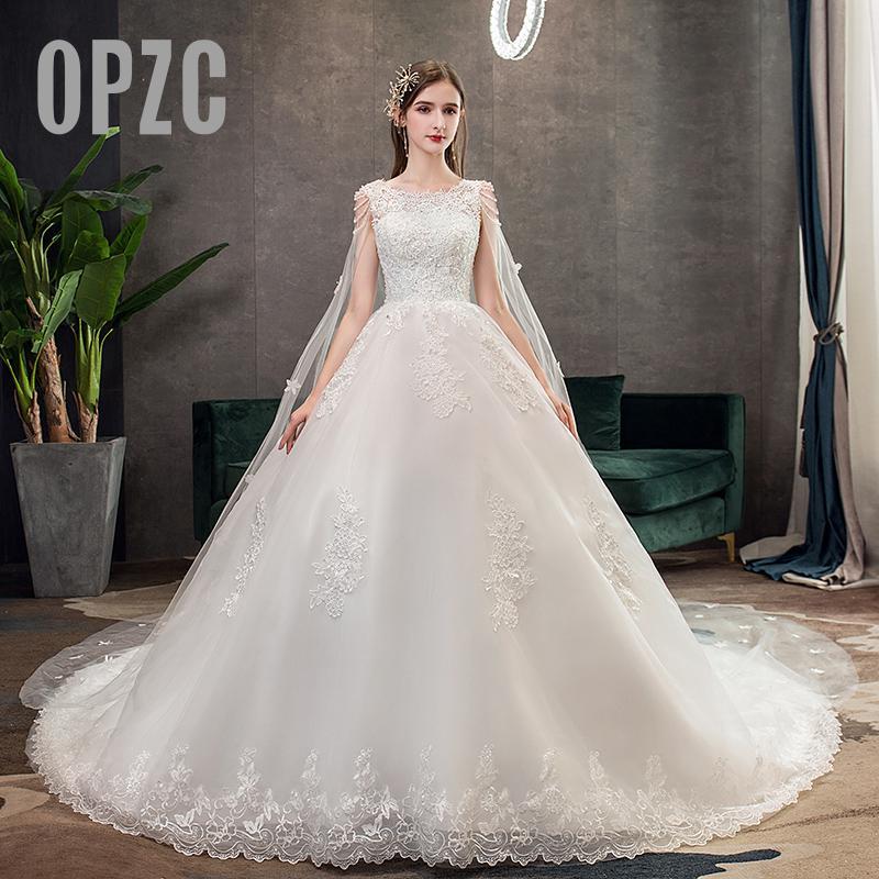 Fashion Light Wedding Dress 2020 New Luxury Long Royal Train French Star Bride Super Fairy Forest Dream Wedding Gown Fancy Yarn