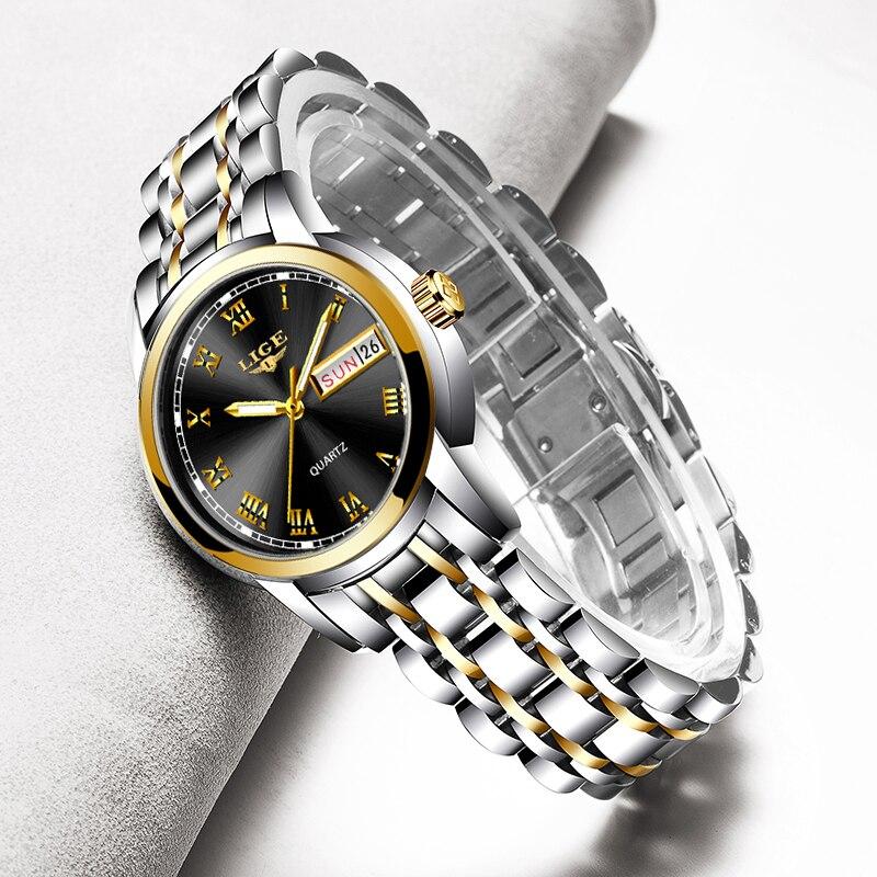 LIGE Women Watches New Fashion Watch Ladies Watch Top Luxury Brand Quartz Clock Gold Wrist Watch 2019 Gift For Women Reloj Mujer