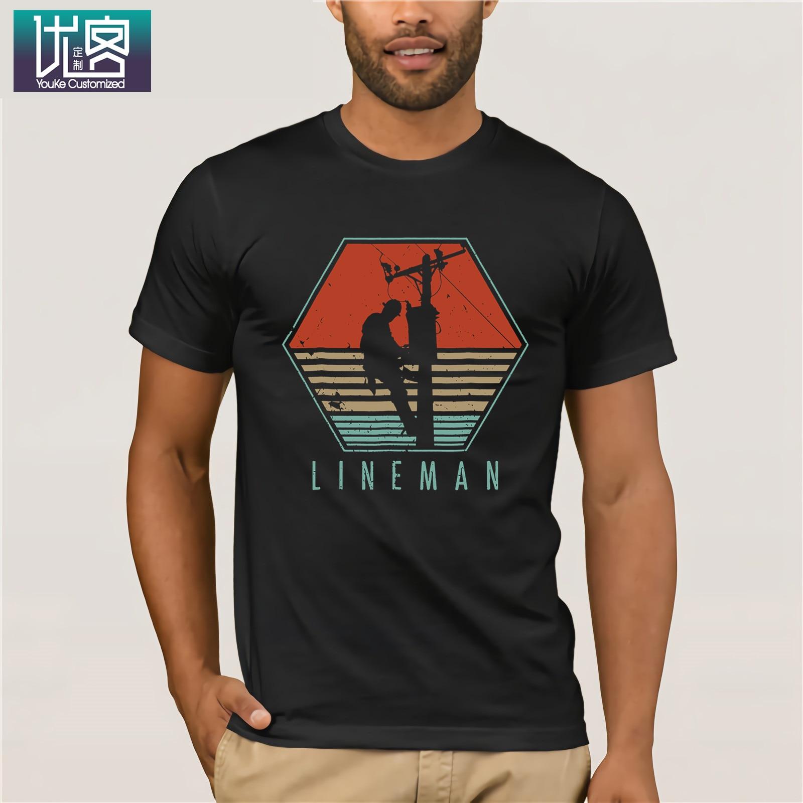 Mens Lineman T Shirt Vintage Retro Electrician Gift Amazing Short Sleeve Unique Casual Tees 100% Cotton Clothes T Shirt