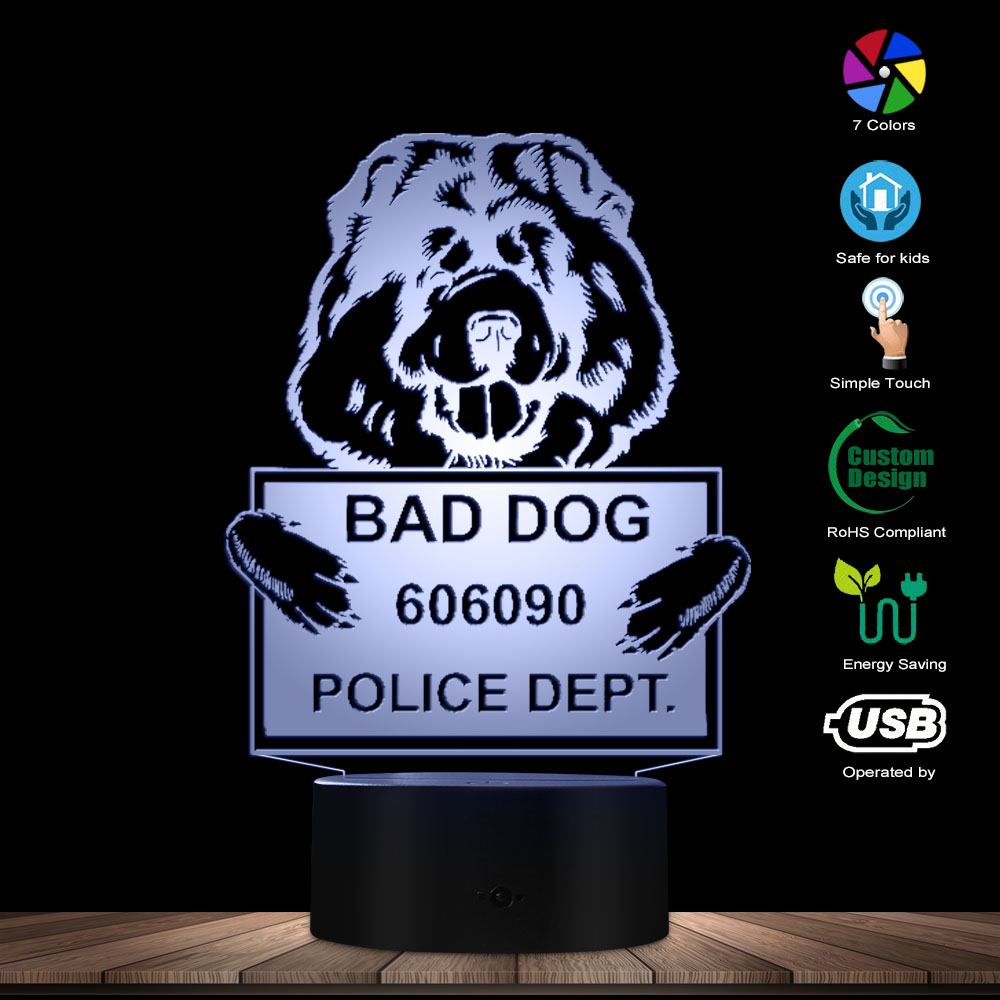 Funny Chow Chow Dog 3D Optical Illusion Light Personalize Dog Name Logo USB Lamp Touch Botton Color Changing Puppy Table Lamp