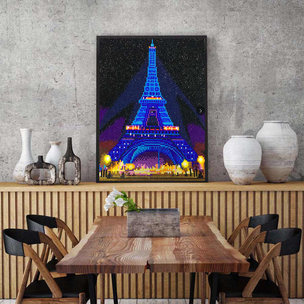 HUACAN светодиодный алмазная живопись 5D Эйфелева башня Алмазная вышивка светодиодный светильник полная круглая Алмазная мозаика 30x40 см с рамкой
