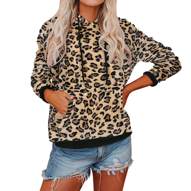 Casual Hoodies, Long Sleeve Front Pocket Drawstring Leopard/camo 2