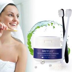 BREYLEE Teeth Whitening Powder Toothbrush 2pc Set Toothpaste Dental White Teeth Oral Hygiene Cleaning Remove Plaque Stains 30g