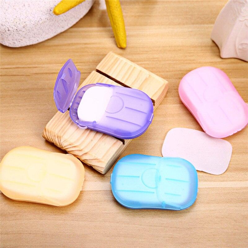 20pcs/box Disposable Portable Boxed Soap Paper Camping Outdoor Mini Soap Slice Laundry Wash Hand Paper Soap