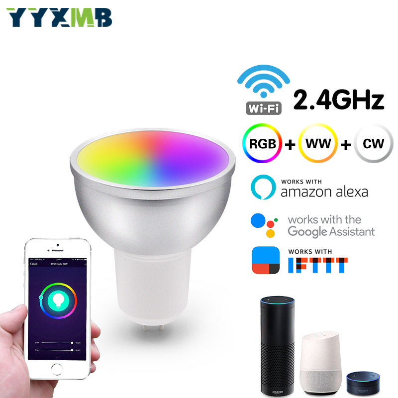 YYXMB Smart House Wifi Smart lampe à LED prise en charge APP Amazon ECHO/Google Home/IFTTT commande vocale RGB + WW + CW lampe à LED tasse GU5.3 GU10