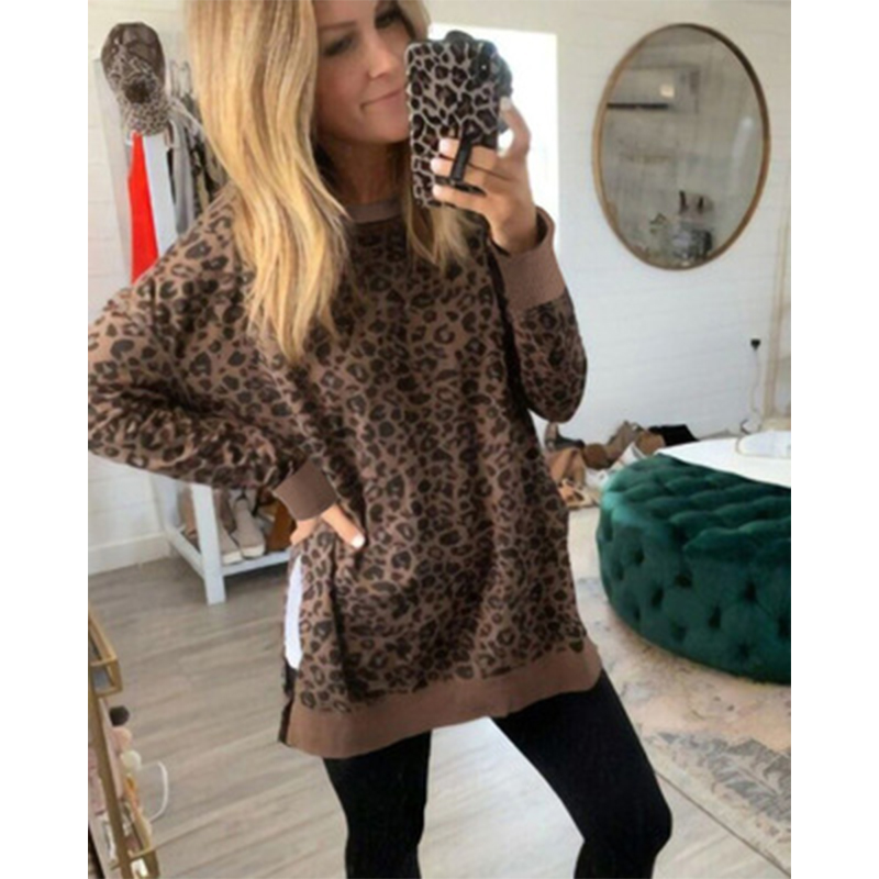 Women Pullovers Tops Leopard Print Hoodies Jumper Sweatshirt Fall Lady O-Neck Irregular Hem Hoody Shirts 2020 Sudadera Mujer