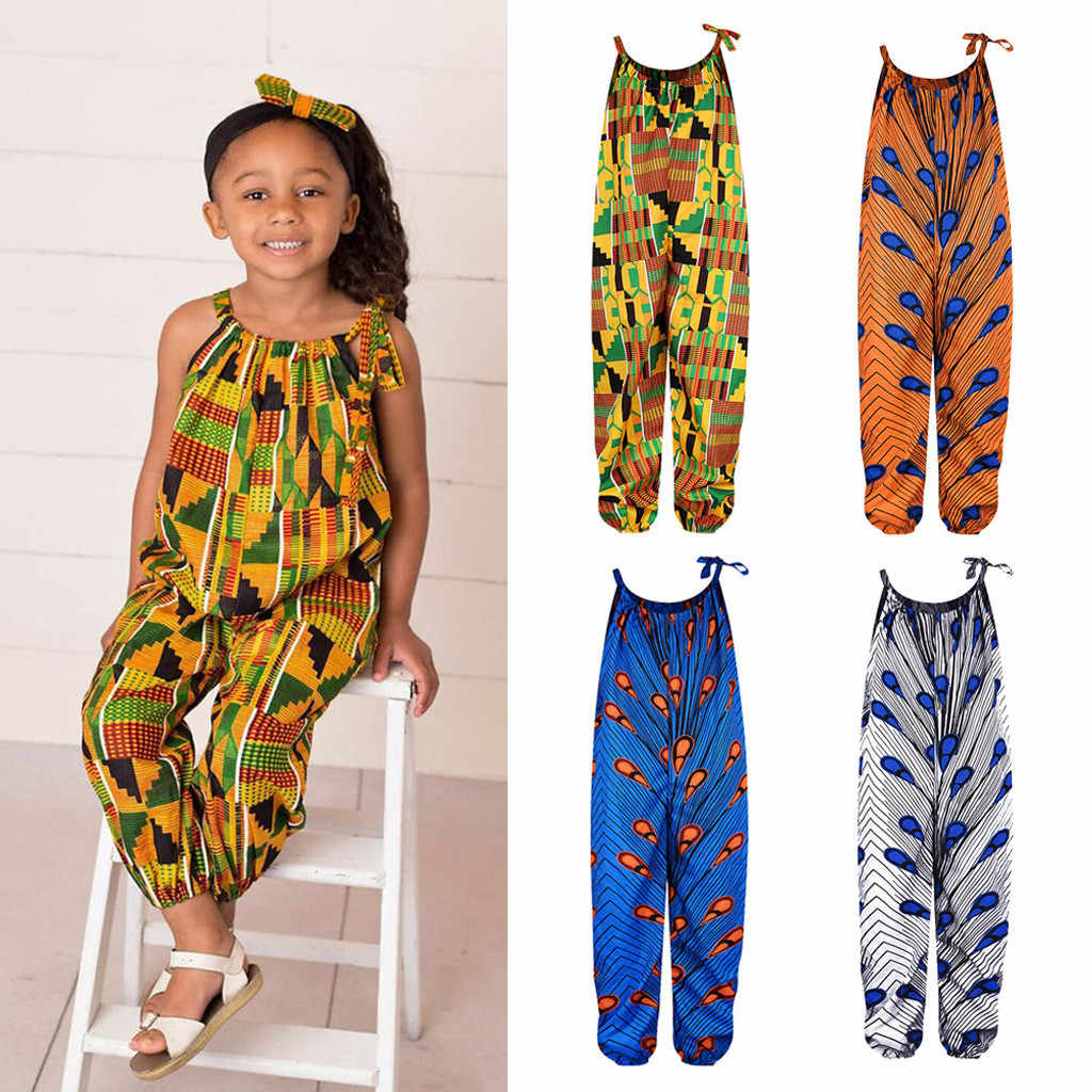 Sleeveless Straps Printed African Dashiki Baby Girl Clothes Summer Casual  Fashion Jumpsuit Overalls Children Girls Jumpsuits Rompers  - AliExpress