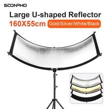 U סוג 160*55cm 4 ב 1 רפלקטור מתקפל צילום אור רעיוני מסך לסטודיו רב תמונה דיסק Diffuers acessorio