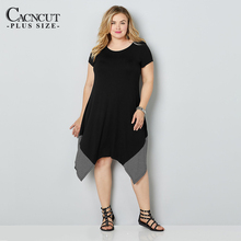 цена на 5XL 6XL 2019 Summer Plus Size Loose Dress Striped Casual Irregular Women Large Size Long Dress Black Big Size Ladies Dresses