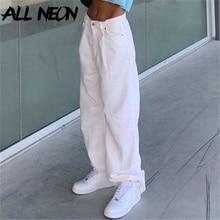 ALLNeon Vintage Streetwear Solid Baggy Pants E-girl 90s Aesthetics High Waist Long Y2K Trousers Autumn Fashion Loose White Pants