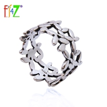 F.J4Z 100% Real S925 Silver Vintage design Stunning flower Finger Rings For women Accessories New Fashion leaves Ring