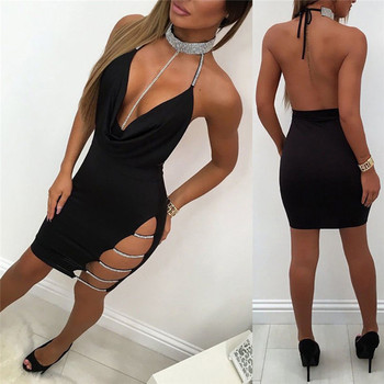 New Women Sexy Halter V Neck Night Club Dress Female Solid Sleeveless Side Slip Diamonds Chic Mini Dress Ladies Clubwear Party 3