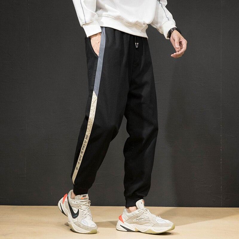 Korean Style Fashion Men Jeans Loose Fit Stripe Designer Harem Pants Black Green Streetwear Hip Hop Jeans Men Joggers Sweatpants