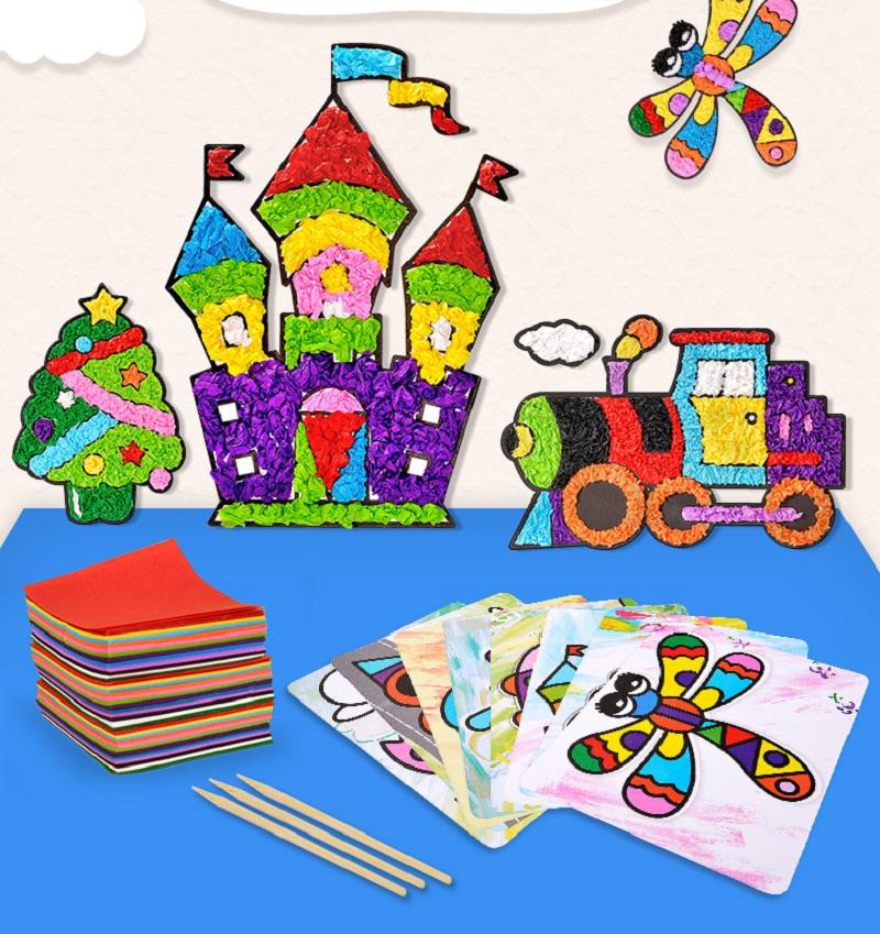 3000 Pas Children Sticky Paper Painting 3d Diy Handmade Art Craft Sticky Painting Montessori Educational Stickers Game Kids Gift