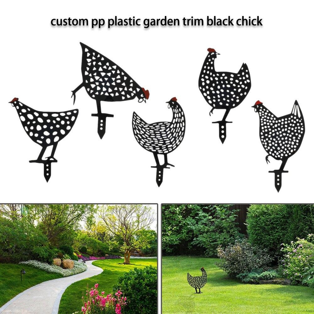 編チキン庭アート装飾屋外裏庭の芝生リアルな編ステークス庭シルエットステークス鶏像彫刻