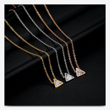 Tiny Triangle Cubic Zircon Pendant Necklace Chain Choker Necklaces Stainless Steel Charm Plain Simple Collar Necklace for Women elegant triangle alloy shirt collar tips necklace silver